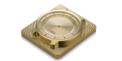 Brass writs watch model milled on a DATRON neo high-speed machining center equipped with pneumatics clamps.